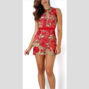 Beautiful & Sexy Madeleine Floral Dress S Red NWOT